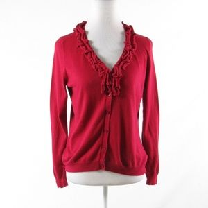 Red cotton blend TALBOTS cardigan sweater size PM